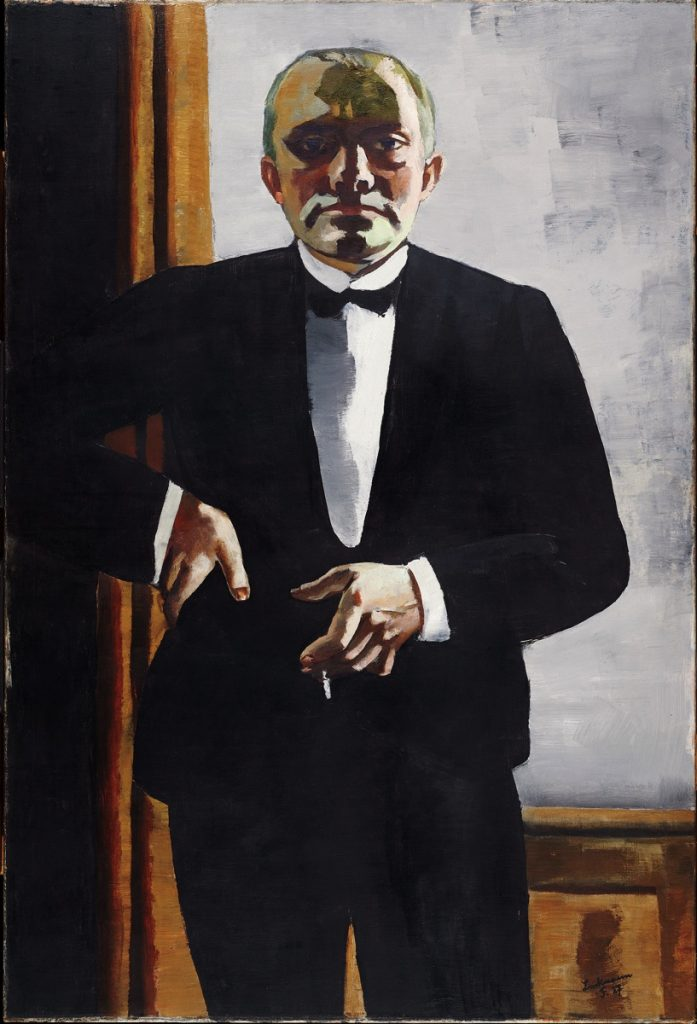 """The 1927 oil painting """"Self-Portrait in Tuxedo"""" by Max Beckmann"""