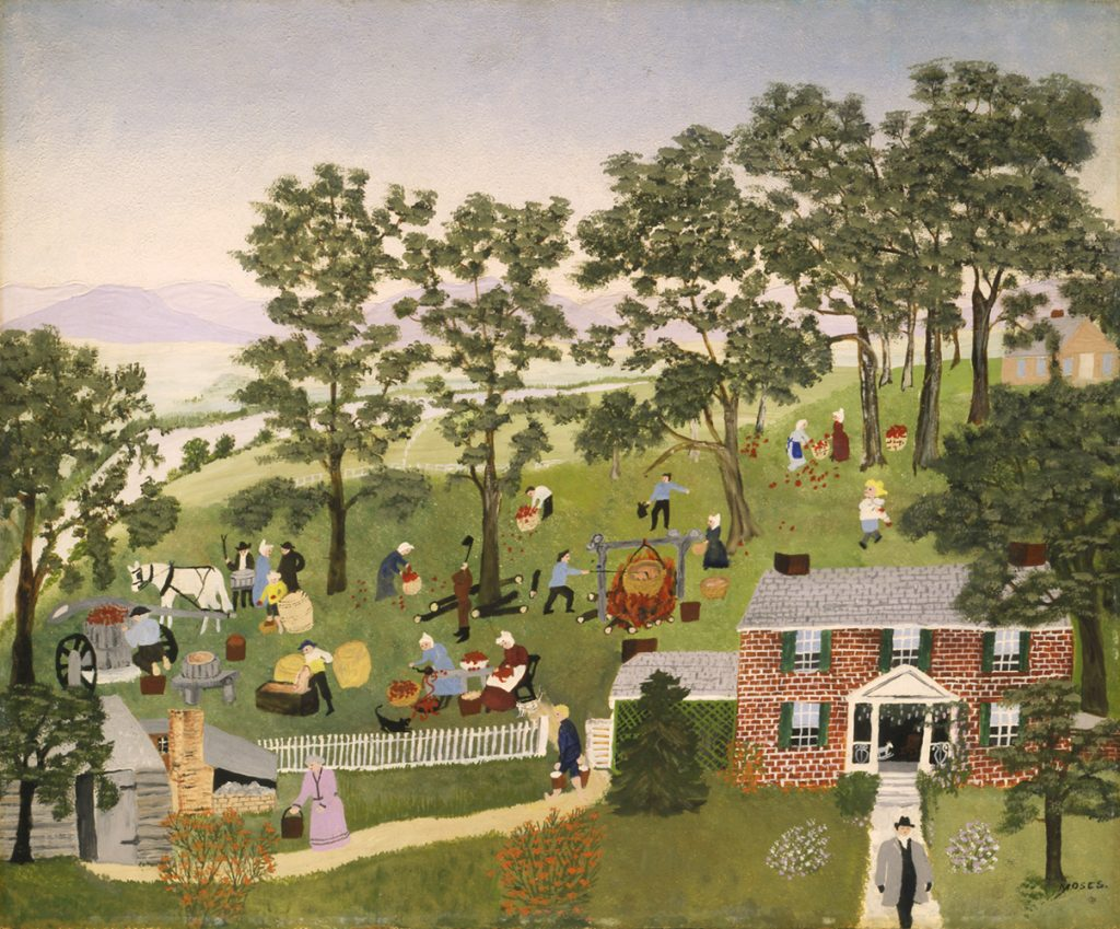 """""""Apple Butter Making"""" painting by Grandma Moses"""