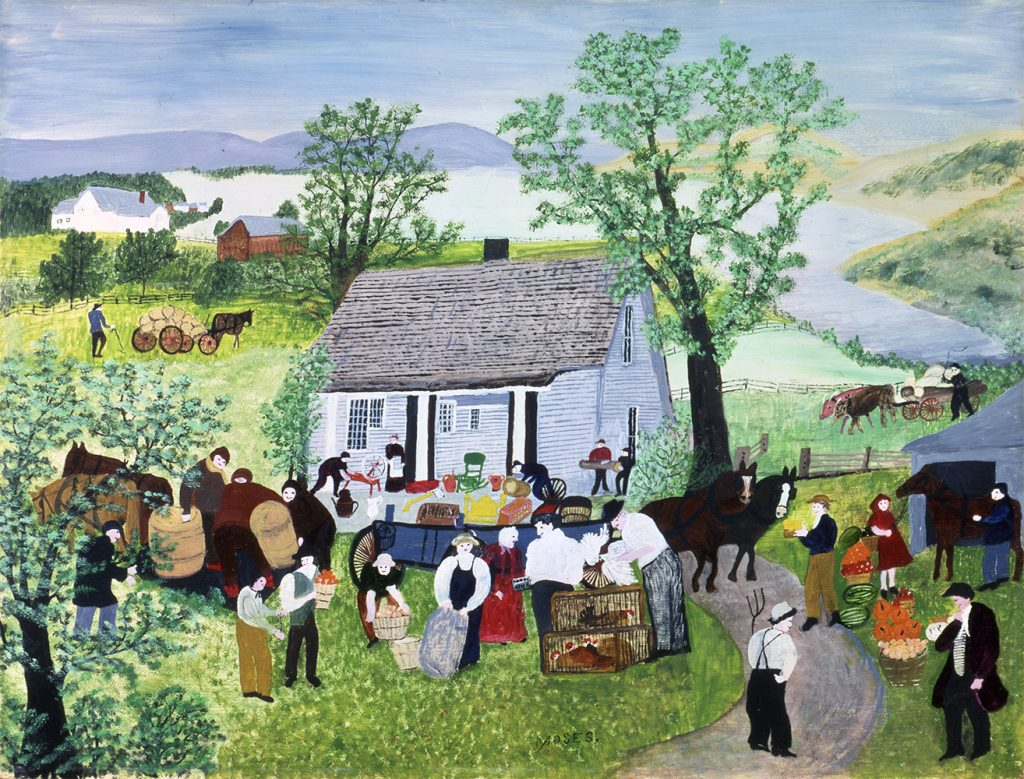 """""""Moving Day on the Farm"""" painting by Grandma Moses"""