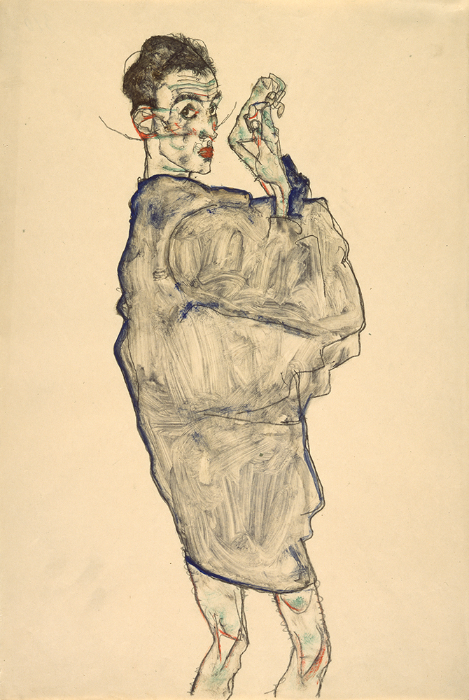"""Work on paper by Egon Schiele: """"Self-Portrait with Raised Hands)"""""""