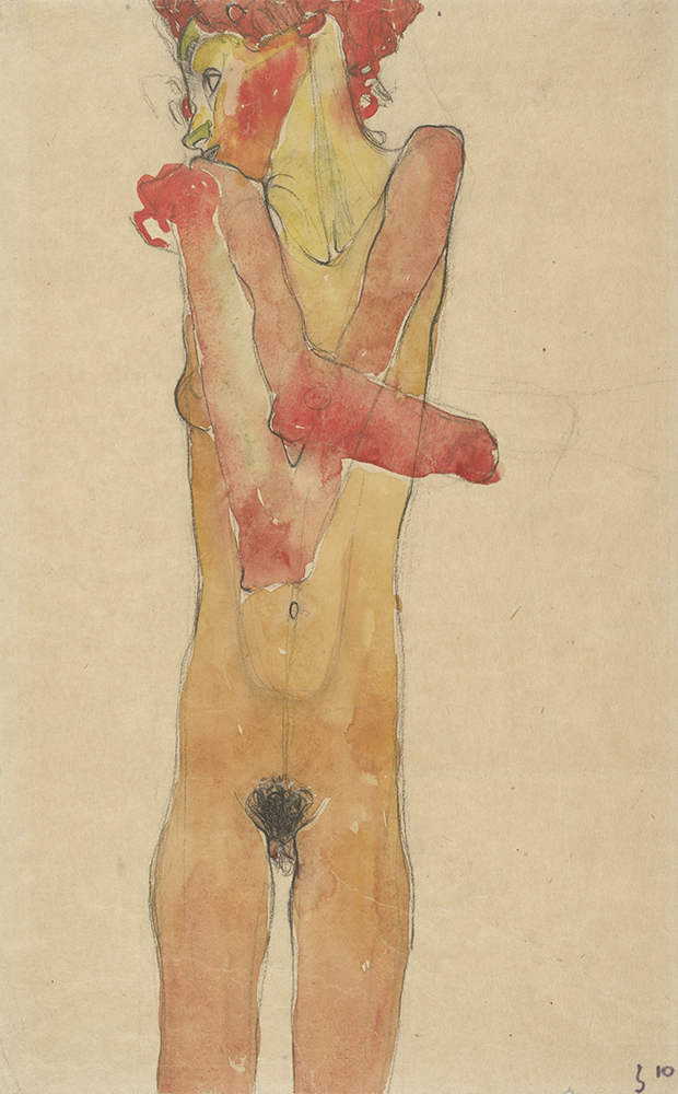"""Work on paper by Egon Schiele: """"Nude Girl with Folded Arms (Gertrude Schiele)"""""""