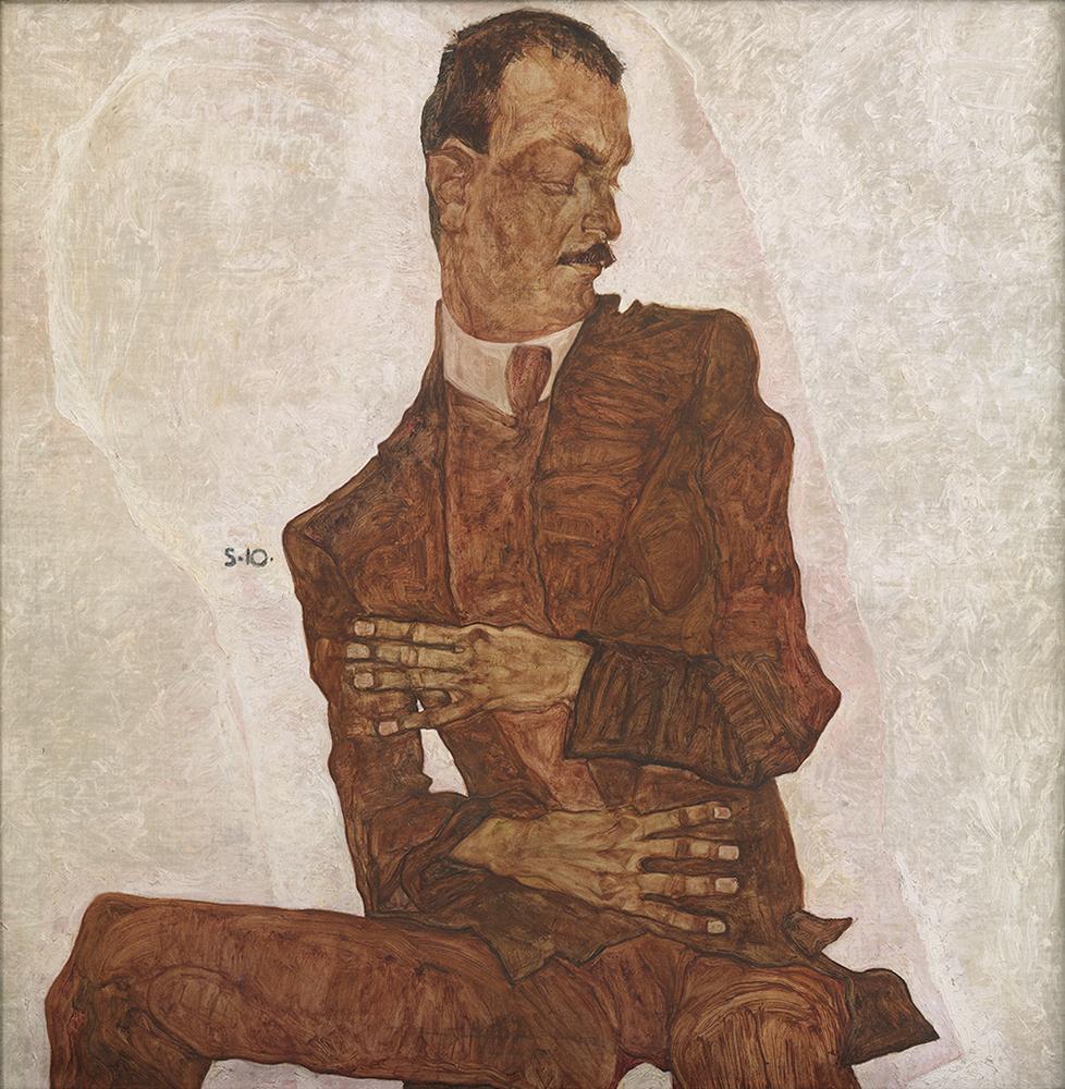 """Painting """"Portrait of Arthur Roessler"""" by Egon Schiele"""