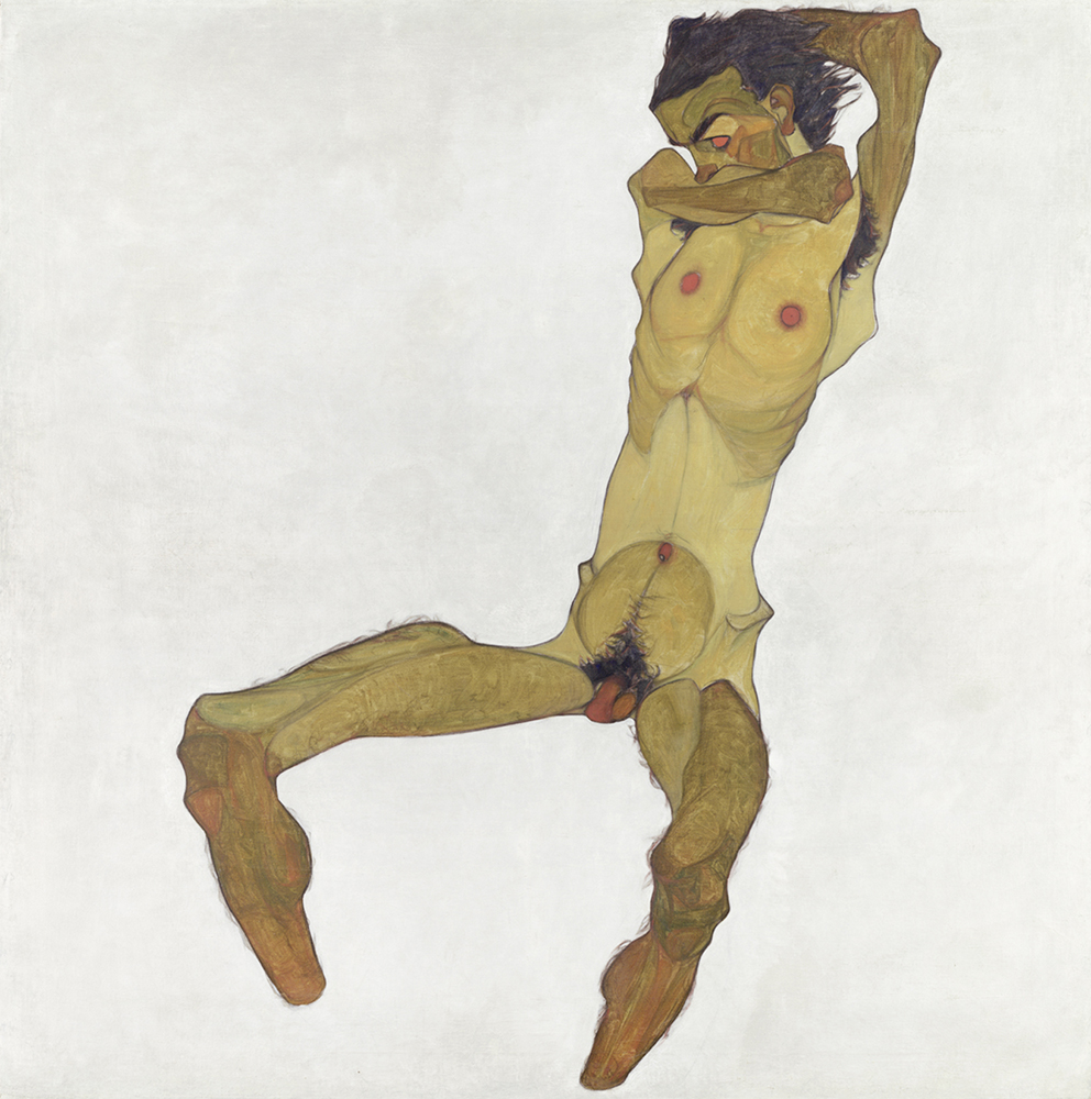 """""""Painting """"Seated Male Nude (Self-Portrait)"""" by Egon Schiele"""