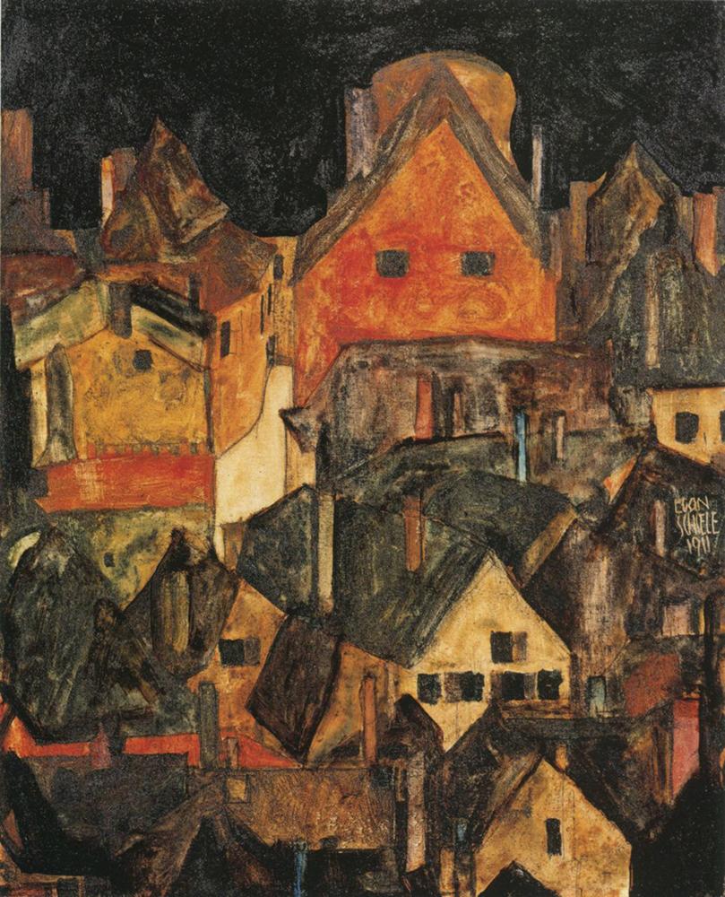 """Painting """"Krumau at Night (Dead City III) by Egon Schiele"""