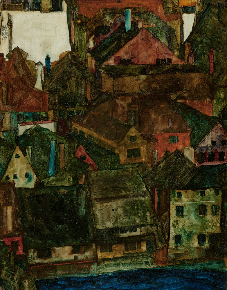 """Painting """"Houses and Roofs of Krumau Seen from the Schlossberg"""" by Egon Schiele"""