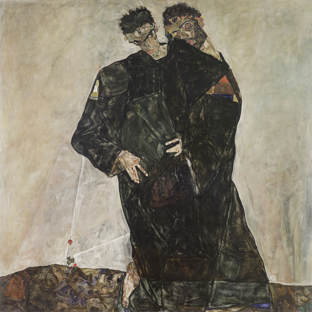 """Painting """"The Hermits"""" by Egon Schiele"""