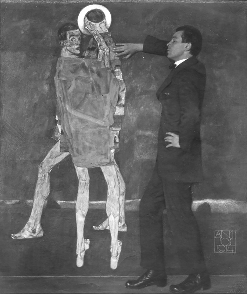 """Photograph of Egon Schiele with his painting """"Encounter (Self-Portrait with Saint)"""""""