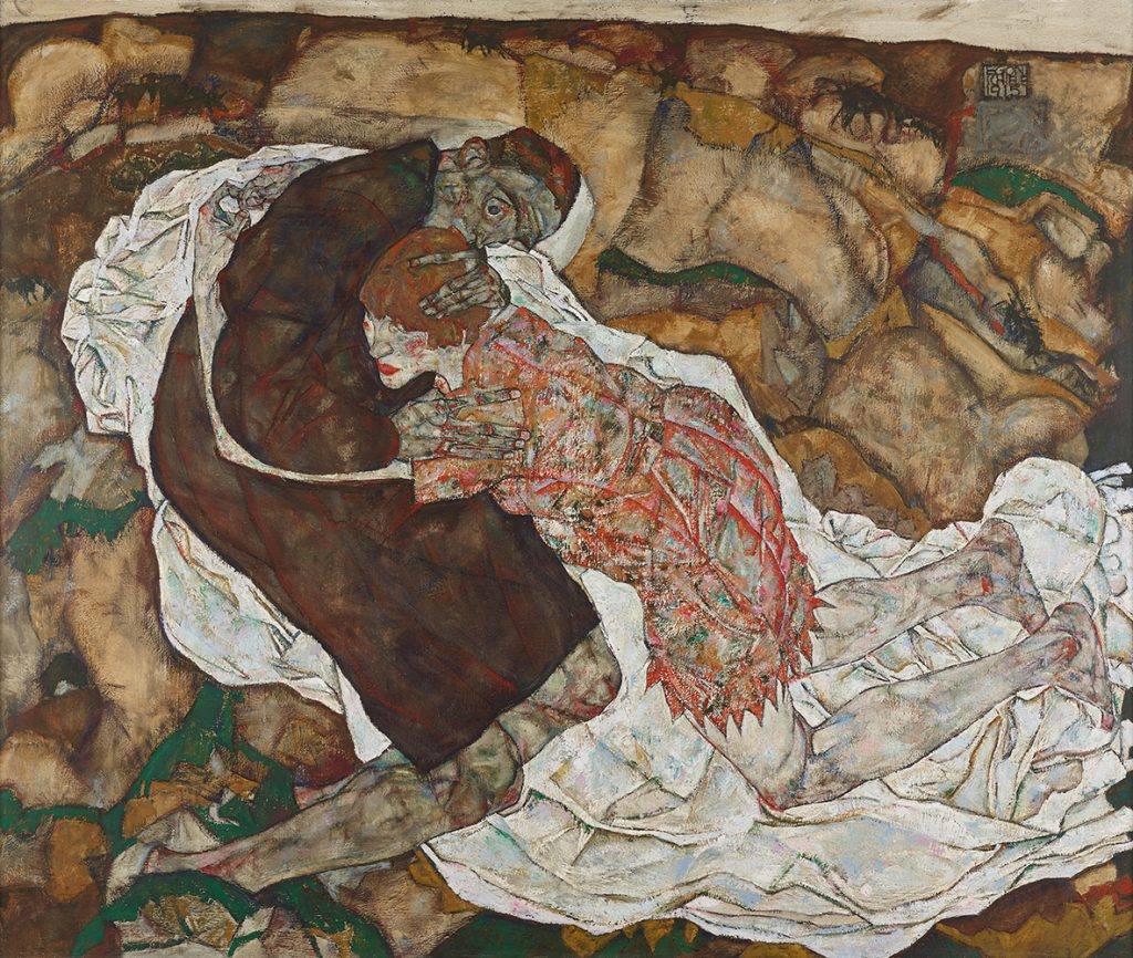 """Painting """"Death and Maiden (Man and Girl)"""" by Egon Schiele"""