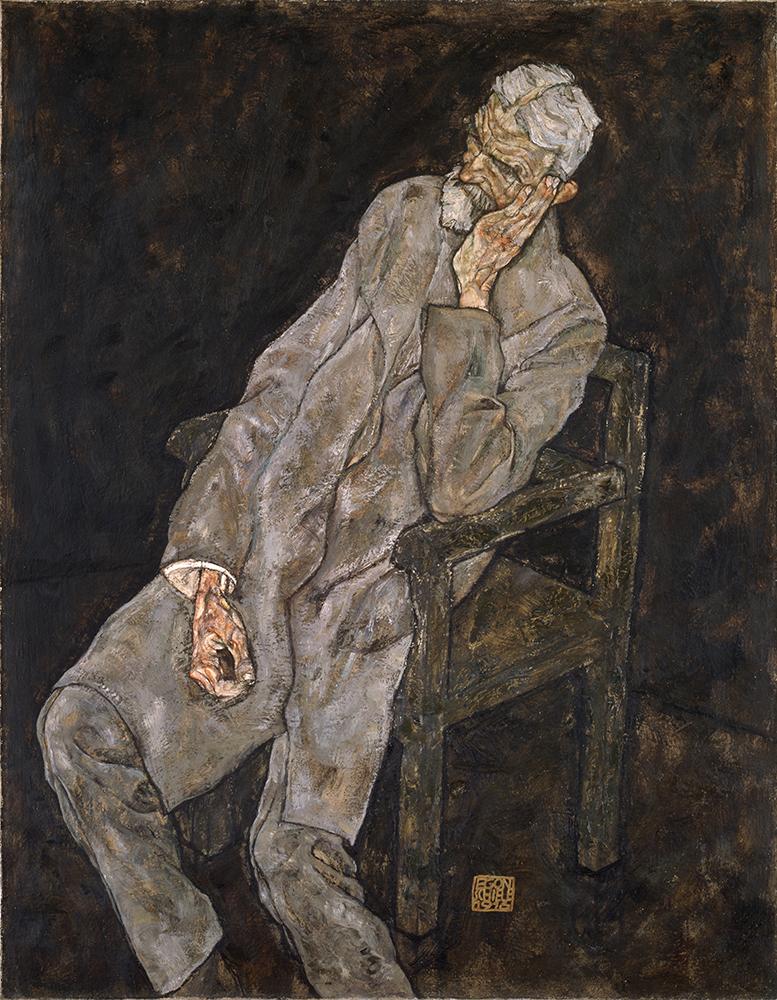 "Painting ""Portrait of an Old Man (Johann Harms)"" by Egon Schiele"