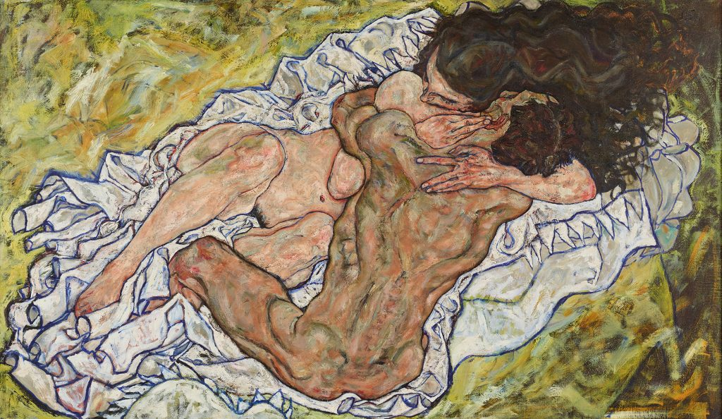 """Painting """"Embrace (Lovers II)"""" by Egon Schiele"""