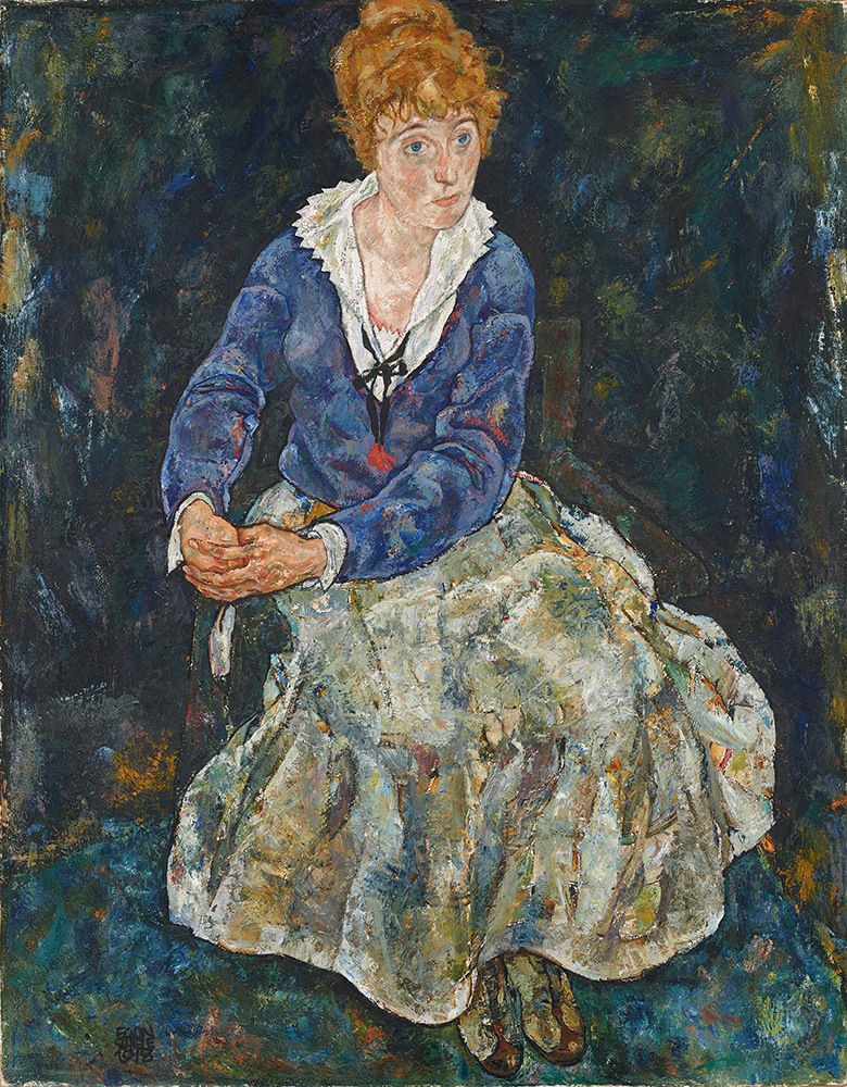 """Painting """"Portrait of the Artist's Wife, Seated"""" by Egon Schiele"""