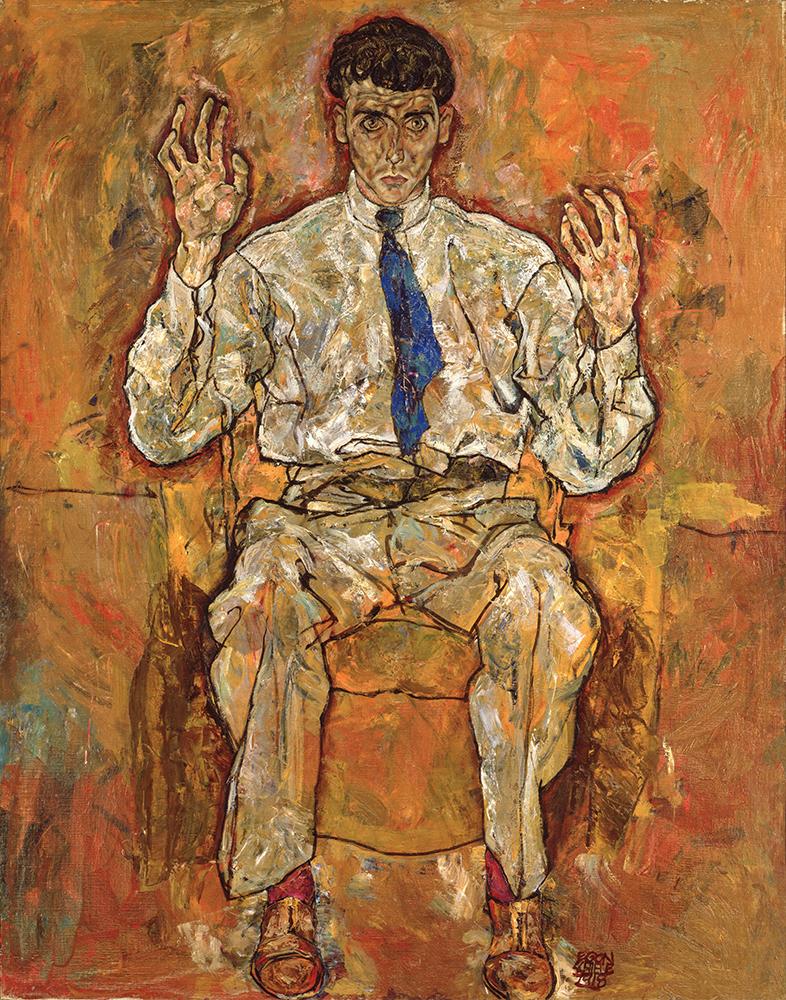 """Painting """"Portrait of the Painter Paris von Gütersloh"""" by Egon Schiele"""