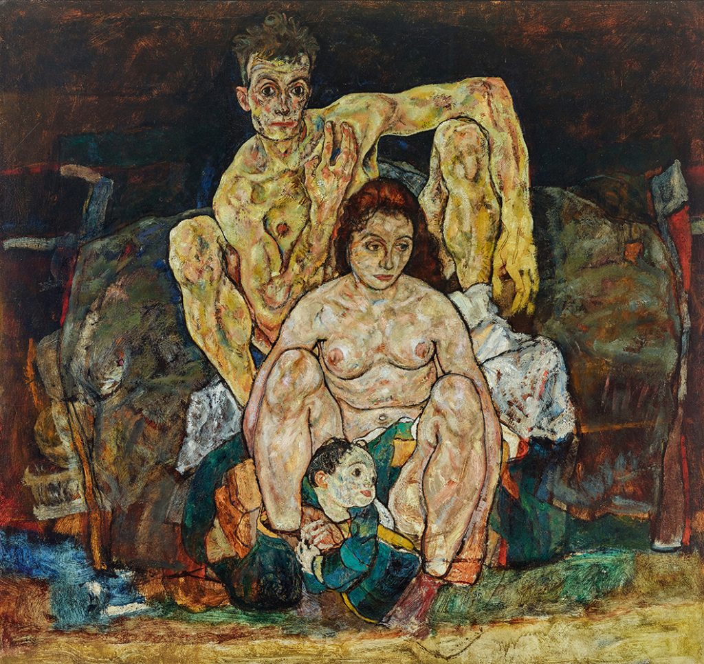 """Painting """"The Family (Squatting Couple)"""" by Egon Schiele"""